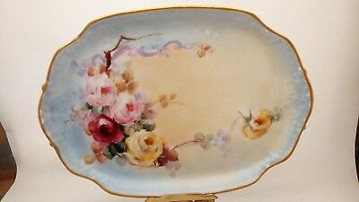 T&V Limoges Tressemann & Vogt Hand Painted Pink Red Yellow Cabbage Roses Tray