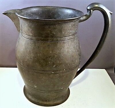 Vintage-to-Antique ½ Gallon Capacity LARGE PEWTER PITCHER Pitcher Mark on Base