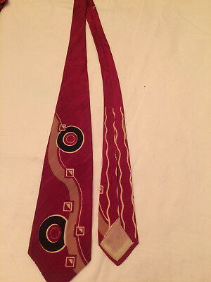 1940s VIBRANT Abstract BOLD SHAPES SWING MOB ROCKABILLY TIE Wide Deco Necktie