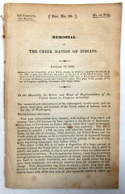 1832 CREEK INDIANS – Anger Creek Treaty Money Being Used To Pay Damage Claims