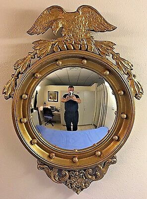 """LARGE Antique Federal Style Convex Bullseye Eagle Mirror -36"""" H"""