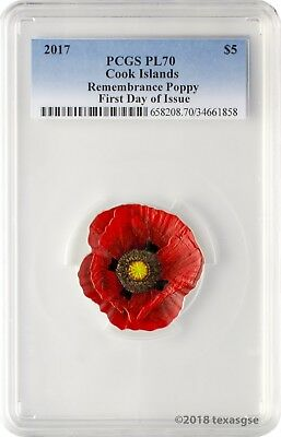 2017 $5 Cook Islands Remembrance Poppy .999 Silver Coin PCGS PL70 First Day