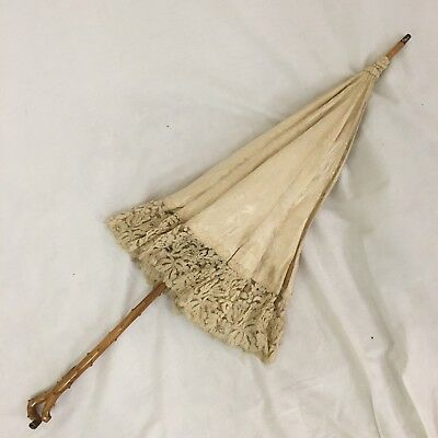 Antique 1880s Silk Lace Parasol Jacquard Flowers Blonde Victorian Umbrella Ecru