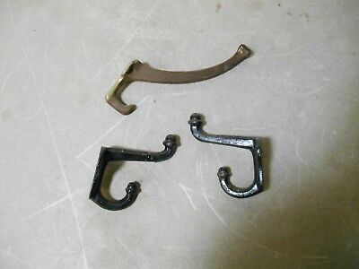 Vintage Coat and Hat Hooks Hangers Art Deco Cast Iron & Brass