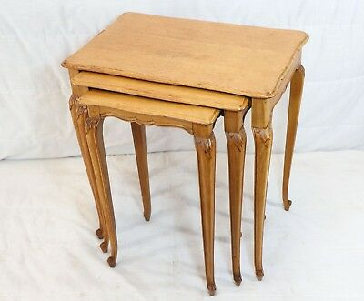 set of 3 Antique Petite Country French Nesting Tables - Vintage Set of 3