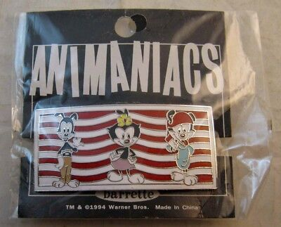 "WARNER BROTHERS ""Animaniacs Yakko, Wakko, Dot"" Enamel Barrette NEW OLD STOCK '94"