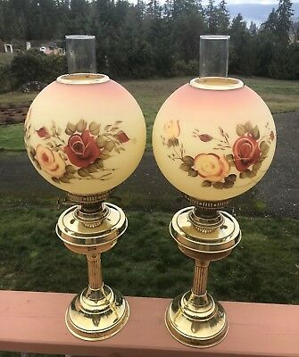 Pair JOHN SCOTT Brass Double Wick Oil Lamps Round Floral Shades England