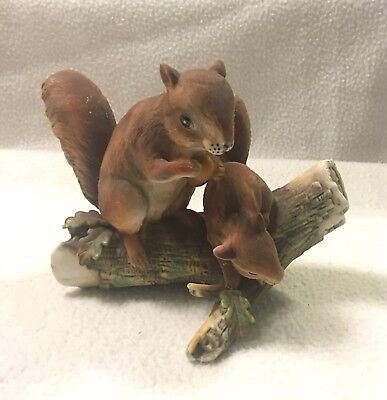 Vintage Porcelain Squirrels On Tree Stump Figurine HOMCO?