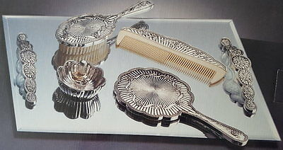 Beveled Glass Vanity Mirror/Tray Set - 5 pieces-Silver Plated Fluted Design, NIB