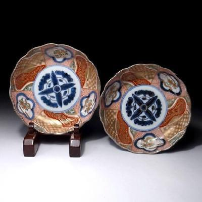 GR3: Pair of Antique Japanese Hand-painted Old Imari Bowls, 19C, Plates