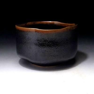 GK8: Vintage Japanese  Tea bowl, Mino ware, Black & brown glazes