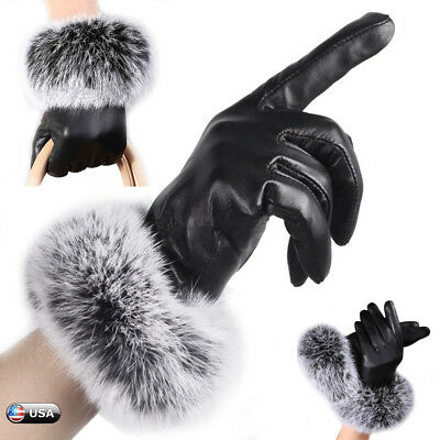 Fashion Women Girls Winter Soft Leather Gloves Fur Warm Driving Party Mittens US