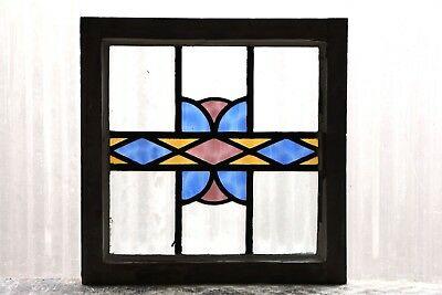 Antique Stained Glass Window Three Colors Fantastic Art Deco Diamonds (3071)