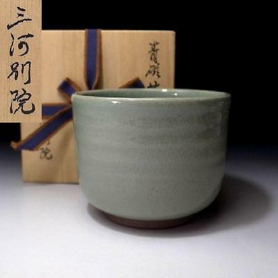 AG4: Vintage Japanese Celadon Tea bowl with Singed wooden box