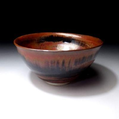 XH2: Vintage Japanese Tenmoku Tea Bowl, Kyo ware, Reddish brown & black glazes