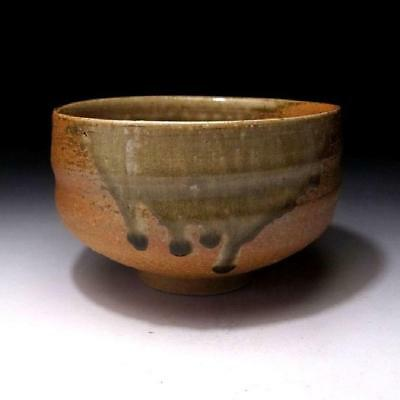 GB6: Japanese pottery tea bowl, Shigaraki Ware by Famous potter, Gorosuke Asami
