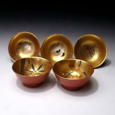FM6: Vintage Japanese 5 Lacquered wooden Sake Cups, Natural wood