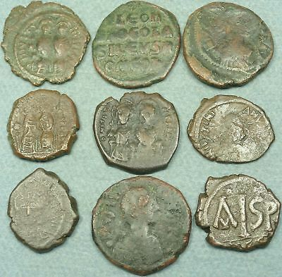 Lot Of 9 Byzantine Bronze Coins