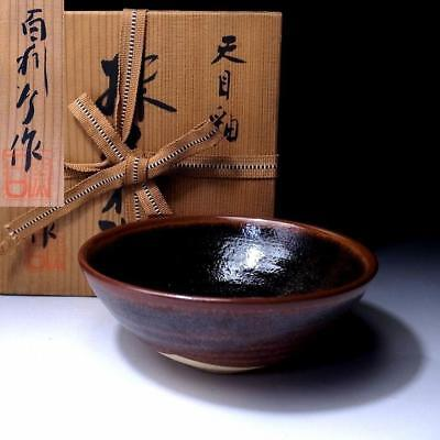 GY1: Vintage Japanese Tea bowl, Seto ware with Signed wooden box, Tenmoku glaze