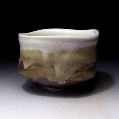 GA2: Japanese Tea Bowl, Seto Ware by Famous potter, Eichi Kato, 3 Color Glazes