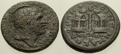 040. Roman Bronze Coin. MACEDONIA. AE-27. Alexander III / Two Temples