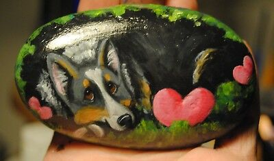 Original Painting~Welsh Pembroke Cogi~Painted~SToNE~ROCK~Whimsical~Valentine~dog