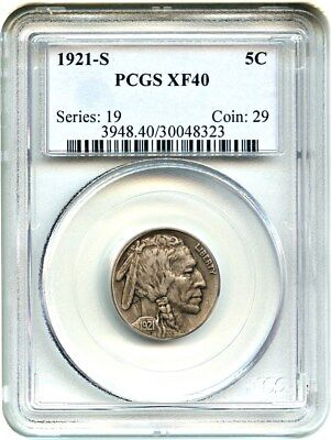 1921-S 5c PCGS XF40 - Key Date - Buffalo Nickel - Key Date