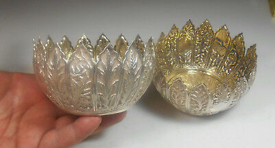 2 Matching STERLING SILVER Antique European Ornate Floral Pattern Bowls AWESOME!