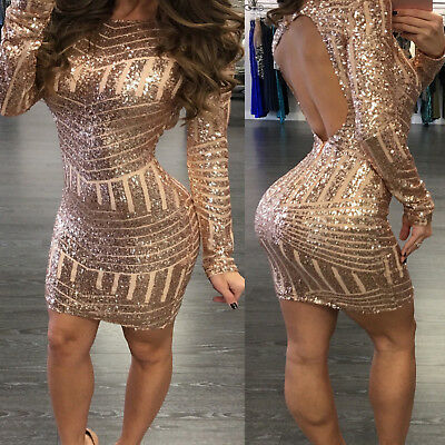 Sexy Womens Sequins Bandage Bodycon Dress Club Party Cocktail Short Mini Dress