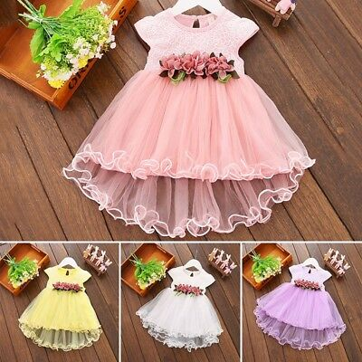 AU Summer Newborn Baby Girls Sleeveless Princess Party Tutu Flower Petal Dress