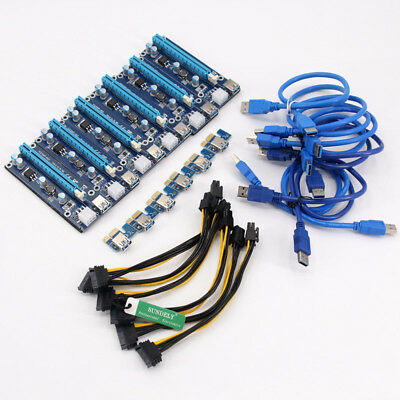 6X USB3.0 Pcie PCI-E Express 1x~16x Extender Riser Card Adapter Power Cable Set
