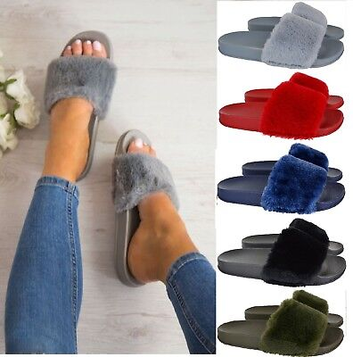 Ladies Womens Celebrity Style Fluffy Faux Fur Sliders Slippers Flip Flop Shoe Au
