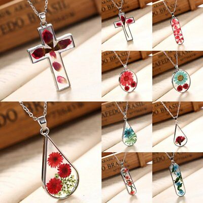 Handmade Natural Real Dried Rose Flower Glass Chain Pendant Necklace Jewellery