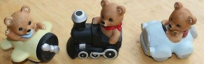 "Homco ""Planes, Trains, and Automobile Bears""; #1463 (3 Bears)"
