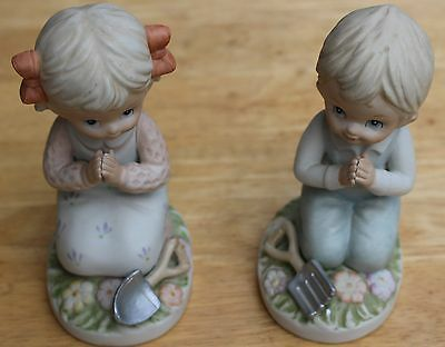 Set of 2 Figurines (Boy and Girl) Praying by Homco