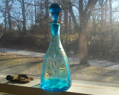 1870s BEAUTIFUL SAPPHIRE BLUE GROUND PONTIL COLOGNE BARBER BOTTLE WITH STOPPER