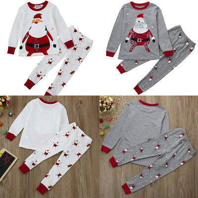 Xmas Toddler Baby Boys Girls Kids Shirt Tops+Long Pants Outfit Set Home Pajamas