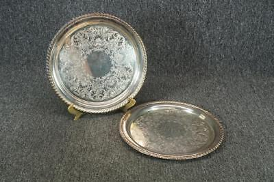 Set Of Two W. M. Rogers 870 Silver Plated Round Serving Tray 10.25""