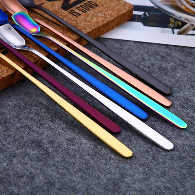 Colorful Spoon Long Handle Spoons Flatware Coffee Drinking Tools Kitchen Gadget