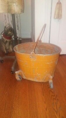 Vintage Large painted orange Galvanized metal Mop Bucket with Wheels