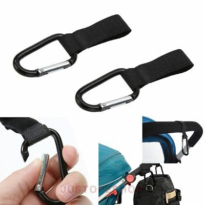 2 X Universal Buggy Mummy Clips Pram Pushchair Shopping Bag Hook Carabiner UK