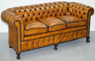 Fully Restored Victorian Chesterfield Brown Leather Club Sofa Claw & Ball Feet