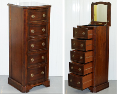 Rare Willis & Gambier Tallboy Drawers Open Mirrored Top Dressing Vanity Jewelry