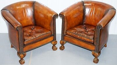 Pair Of Victorian Thomas Chippendale Style Restored Tub Armchairs Claw & Ball