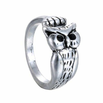 Beauty Lucky Women Ancient Silver Animal-themed Bird Owl Ring Jewelry Gifts