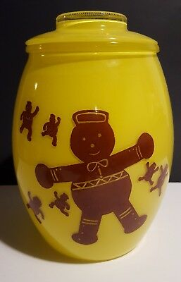 Bartlett Collins Yellow Gingerbread Man Painted Glass Cookie Jar w Lid Vintage