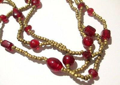 Glass Seed Bead Bronze & Red Garnet Double Strand Necklace Petite Vintage 1980S