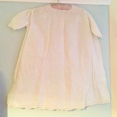Vintage baby / doll white cotton embroidered nightdress