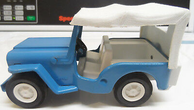 VINTAGE BLUE TONKA JEEP-1960`S ERA PRESSED STEEL TOY w/Removable WHITE TOP