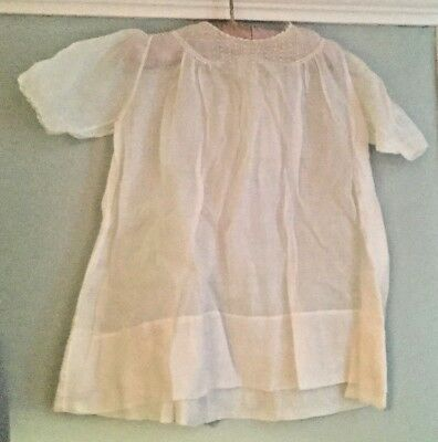 Vintage baby / doll white cotton embroidered nightdress with yoke detail